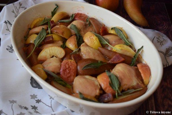 Csirke felsőcombok almával, körtével, céklával